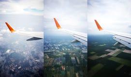 Flygplan med den blåa himlen och landskapet av Thailand Abstrakt t Royaltyfri Fotografi