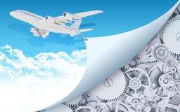 Flygplan med kugghjul och kugghjul Royaltyfri Bild