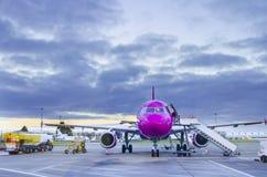 Flygplan nära terminalen i en flygplats royaltyfri fotografi