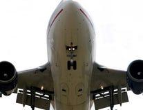 flygplan nedanför detaljen arkivfoto