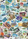 Flygplan och flyg - bakgrund av portostämplar Arkivbilder