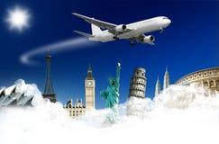 Flygplan och monument Arkivbild