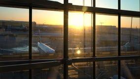 Flygplan på landningsbanaförklädet på soluppgång, Heathrow flygplats, terminal fem, London, England stock video