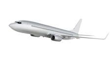 Flygplan på vit bakgrund med banan Arkivfoton
