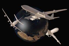 flygplan runt om flygvärlden Arkivbilder