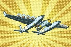 Flygplan som överför raket in i utrymme stock illustrationer