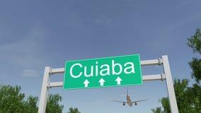 Flygplan som ankommer till den Cuiaba flygplatsen Resa till Brasilien den begreppsmässiga tolkningen 3D royaltyfri fotografi