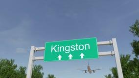 Flygplan som ankommer till den Kingston flygplatsen Resa till Jamaica den begreppsmässiga tolkningen 3D royaltyfria bilder