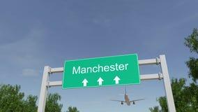 Flygplan som ankommer till den Manchester flygplatsen Resa till Förenade kungariket den begreppsmässiga tolkningen 3D Royaltyfria Bilder