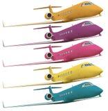 flygplan som fäster färgrik bana fem ihop Arkivbild