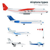 Flygplan som fem isoleras på vit Royaltyfri Foto