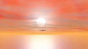 Flygplan som flyga iväg solnedgång - 3D framför stock illustrationer