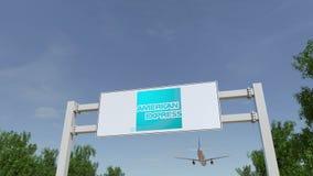Flygplan som flyger över advertizingaffischtavlan med den American Express logoen Redaktörs- tolkning 3D Royaltyfria Foton