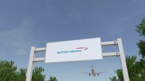 Flygplan som flyger över advertizingaffischtavlan med den British Airways logoen Redaktörs- tolkning 3D Royaltyfri Bild