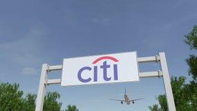 Flygplan som flyger över advertizingaffischtavlan med den Citigroup logoen Redaktörs- tolkning 3D Arkivfoto