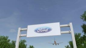 Flygplan som flyger över advertizingaffischtavlan med den Ford Motor Company logoen Redaktörs- tolkning 3D Arkivfoton