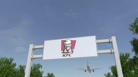 Flygplan som flyger över advertizingaffischtavlan med den Kentucky Fried Chicken KFC logoen Redaktörs- tolkning 3D Royaltyfri Fotografi