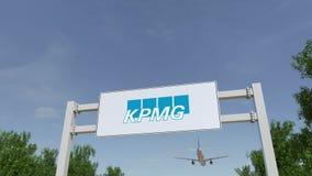 Flygplan som flyger över advertizingaffischtavlan med den KPMG logoen Redaktörs- tolkning 3D Royaltyfria Bilder