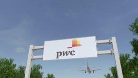 Flygplan som flyger över advertizingaffischtavlan med den PricewaterhouseCoopers PwC logoen Redaktörs- tolkning 3D Royaltyfri Bild