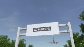 Flygplan som flyger över advertizingaffischtavlan med den SoftBank logoen Redaktörs- tolkning 3D Arkivbild
