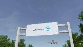 Flygplan som flyger över advertizingaffischtavlan med den Volkswagen logoen Redaktörs- tolkning 3D Arkivfoto