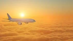 Flygplan som flyger ovann?mnda moln under solnedg?ngen - tolkning 3d stock illustrationer