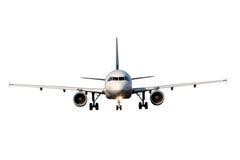 Flygplan som isoleras på vit bakgrund Arkivfoton
