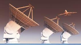 flygplan som 4k flyger över satellit- disk, radioobservatorier, militär radar royaltyfri illustrationer
