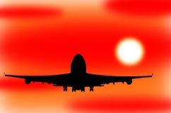 Flygplan som tar av i en solnedgång stock illustrationer