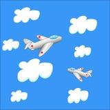 Flygplan två i molnen royaltyfri illustrationer