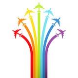 flygplanbakgrundsregnbåge Fotografering för Bildbyråer