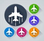 Flygplancirkelsymboler med skugga Arkivfoto