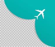Flygplanet p? bl? bakgrund och t?mmer st?llet f?r annonsering Niv?n tar av Vektor av lopp- och turismbegreppet stock illustrationer