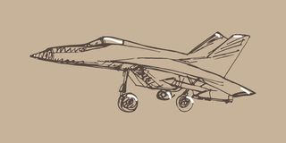 Flygplanet skissar Hand dragen illustration för din design Arkivbild
