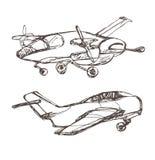 Flygplanet skissar Hand dragen illustration för din design: biljetter t-skjorta Royaltyfri Foto