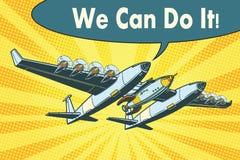 Flygplanet som överför raket in i utrymme kan vi, göra det royaltyfri illustrationer