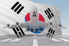 Flygplanet tar av mot den bakgrundSydkorea flaggan stock illustrationer