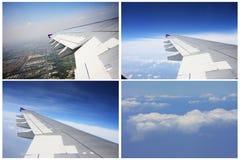 Flygplanfönstersikt Arkivbild