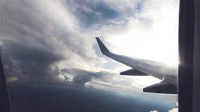 Flygplanfönstersikt isolerad framförd löpande white för luft 3d illustration arkivfilmer