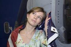 flygplanflickamilitär royaltyfria foton