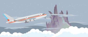 Flygplanflugan i himlen på natten nära ett berg och molnvektorlägenheten planlägger illustrationbanret Royaltyfri Foto
