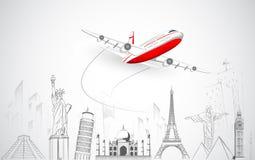 Flygplanflyg ovanför världen Arkivfoton