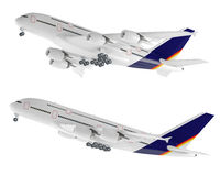 Flygplanflygplan som isoleras på viten Arkivbild