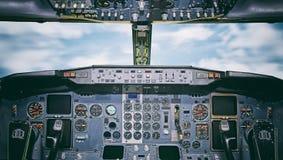 Flygplaninstrumentbräda Arkivbild