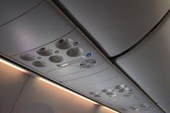 Flygplaninteriorinterior av passagerareflygplanet Arkivfoton