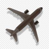 Flygplankontur, bästa sikt Kommersiellt flygplan för stråle på rutig bakgrund stock illustrationer