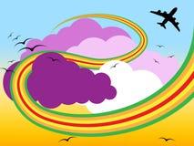 Flygplanmoln indikerar mulet molnigt och flygbolaget stock illustrationer