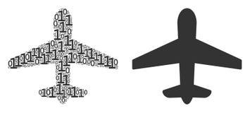 Flygplanmosaik av binära siffror royaltyfri illustrationer