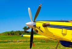 Flygplanpropellrar, motor med propellerblad royaltyfria foton