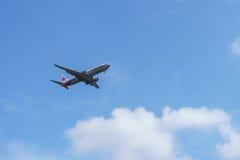 Flygplanslandning Fotografering för Bildbyråer